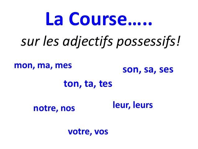 La Course….. sur les adjectifs possessifs! mon, ma, mes  son, sa, ses  ton, ta, tes notre, nos votre, vos  leur, leurs