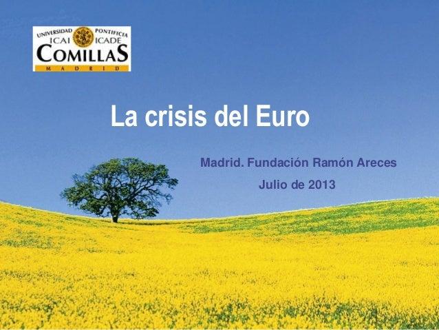La crisis del Euro Madrid. Fundación Ramón Areces Julio de 2013