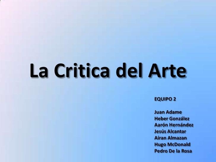La critica del arte