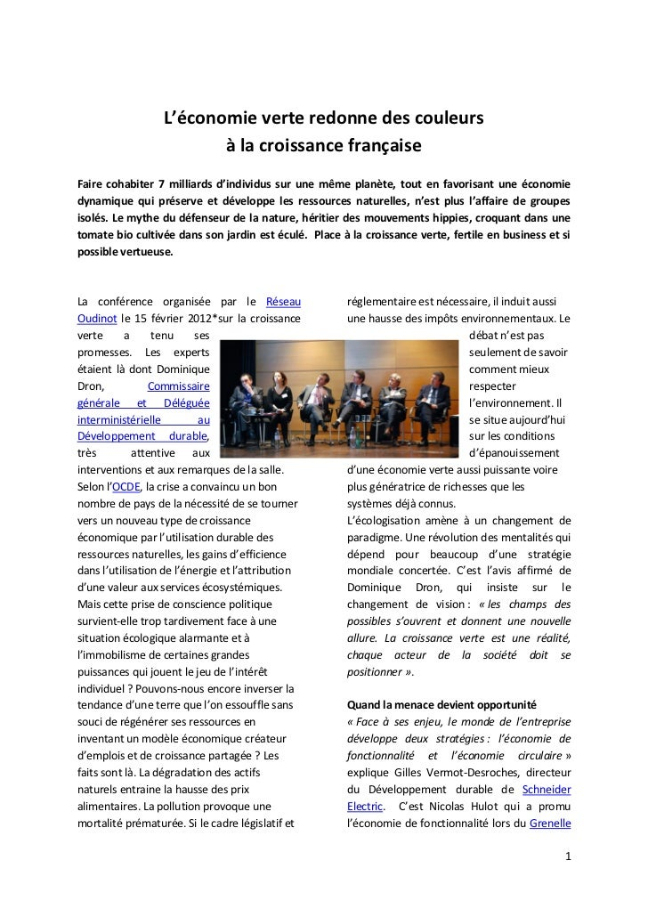 L'économie verte redonne des couleurs                         à la croissance françaiseFaire cohabiter 7 milliards d'indiv...