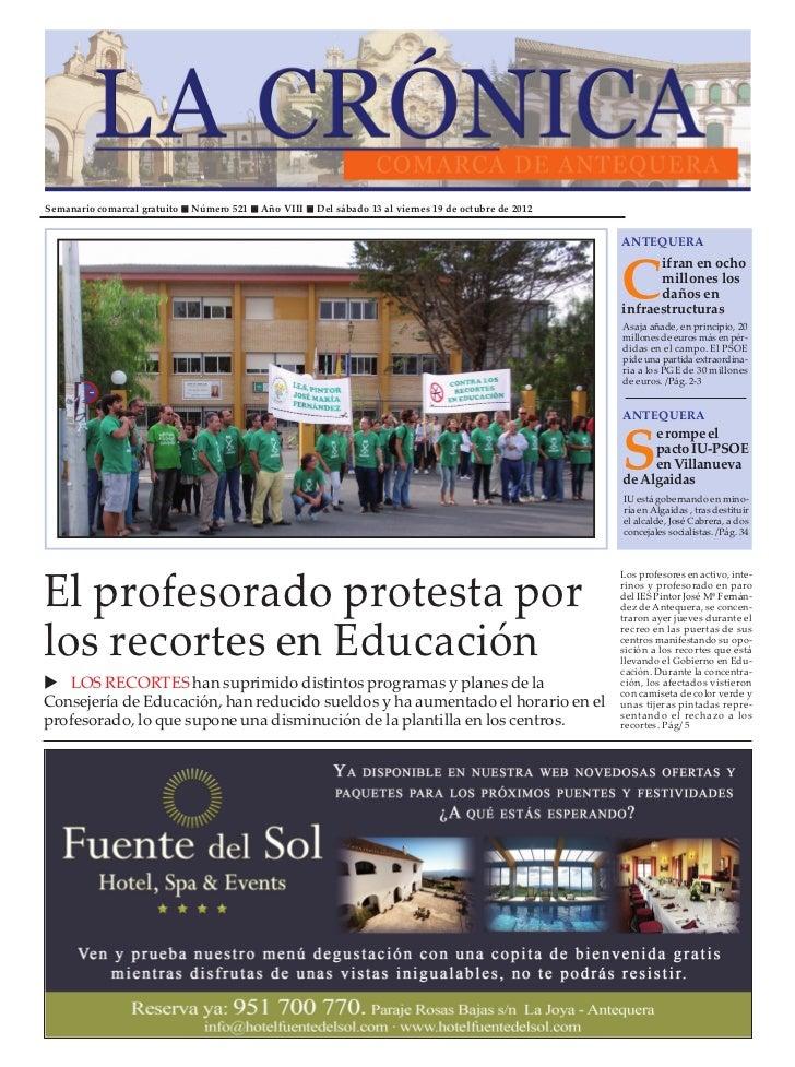Semanario comarcal gratuito   Número 521   Año VIII   Del sábado 13 al viernes 19 de octubre de 2012                      ...