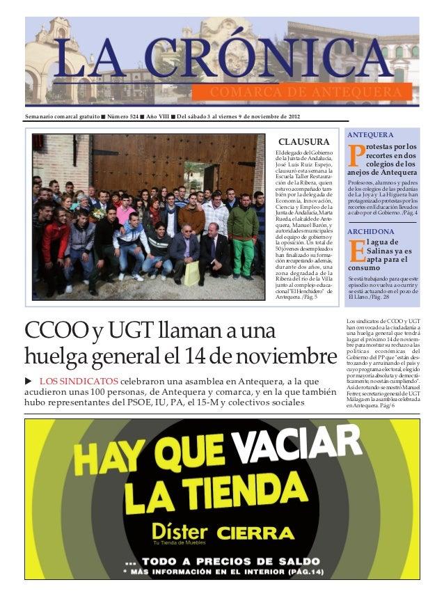 Semanario comarcal gratuito   Número 524   Año VIII   Del sábado 3 al viernes 9 de noviembre de 2012                      ...
