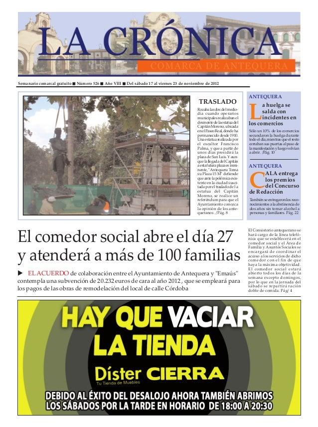 Semanario comarcal gratuito   Número 526   Año VIII   Del sábado 17 al viernes 23 de noviembre de 2012                    ...