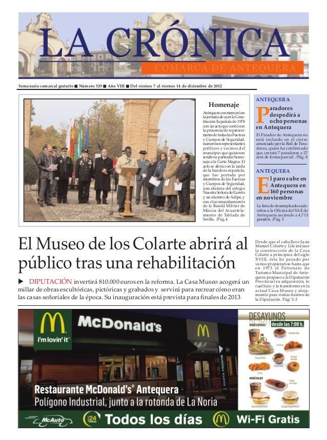 Semanario comarcal gratuito   Número 529   Año VIII   Del viernes 7 al viernes 14 de diciembre de 2012                    ...