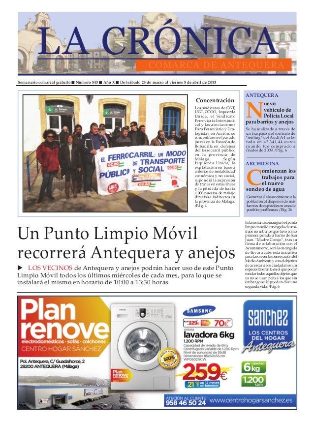 Semanario comarcal gratuito   Número 543   Año X   Del sábado 23 de marzo al viernes 5 de abril de 2013                   ...