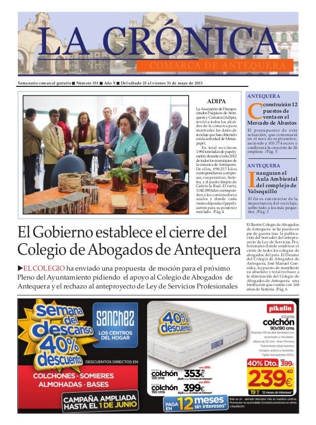 Semanario comarcal gratuito Número 551 Año X Del sábado 25 al viernes 31 de mayo de 2013Cconstruirán12puestosdeventaenelMe...