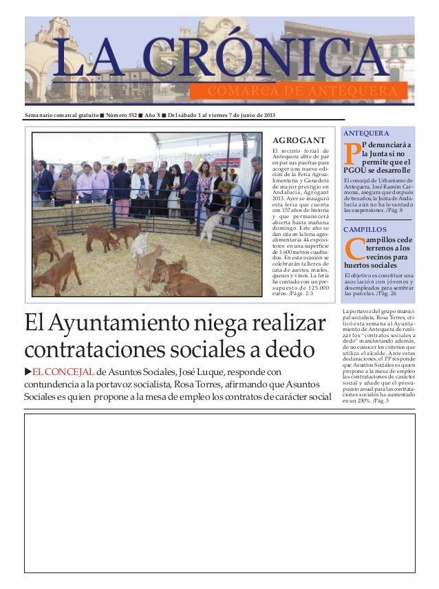 Semanario comarcal gratuito Número 552 Año X Del sábado 1 al viernes 7 de junio de 2013PP denunciaráalaJuntasinopermiteque...
