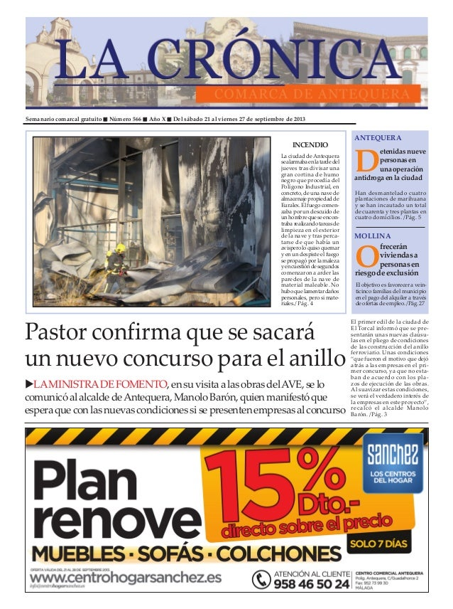 Semanario comarcal gratuito Número 566 Año X Del sábado 21 al viernes 27 de septiembre de 2013 D etenidasnueve personasen ...