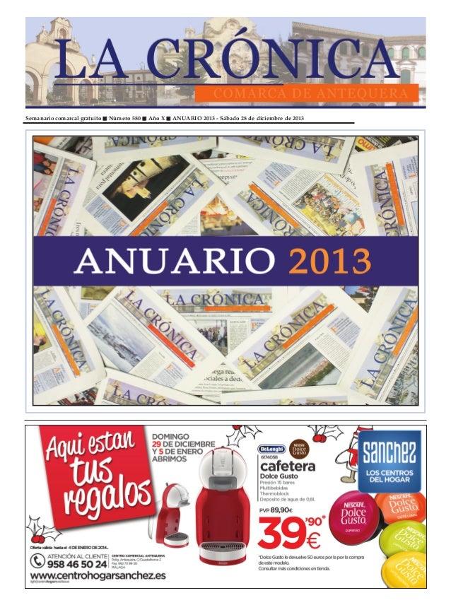 Semanario comarcal gratuito  Número 580  Año X  ANUARIO 2013 - Sábado 28 de diciembre de 2013