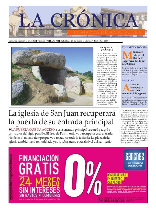 Semanario comarcal gratuito Número 592 Año XI Del sábado 29 de marzo al viernes 4 de abril de 2014 M añana se celebra el D...