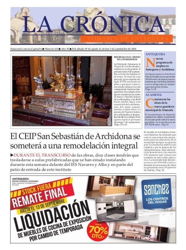 """Semanario comarcal gratuito """" Número 612 """" Año XI """" Del sábado 30 de agosto al viernes 5 de septiembre de 2014  ANTEQUERA ..."""