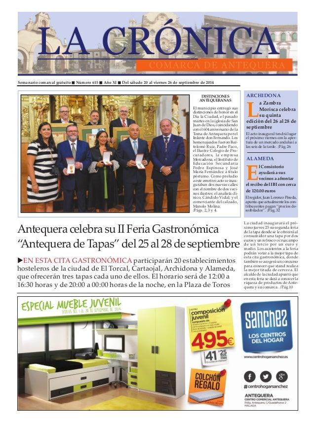 """Semanario comarcal gratuito """" Número 615 """" Año XI """" Del sábado 20 al viernes 26 de septiembre de 2014  ARCHIDONA  La Zambr..."""