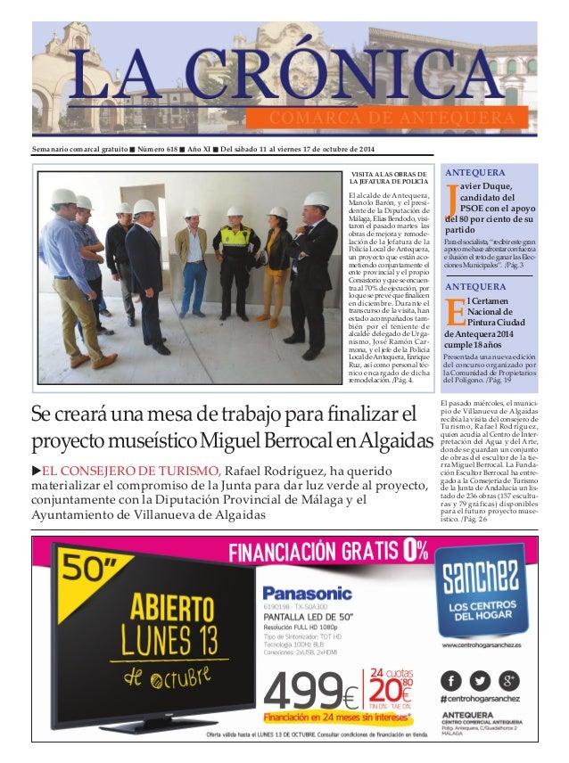 """Semanario comarcal gratuito """" Número 618 """" Año XI """" Del sábado 11 al viernes 17 de octubre de 2014  ANTEQUERA  Javier Duqu..."""