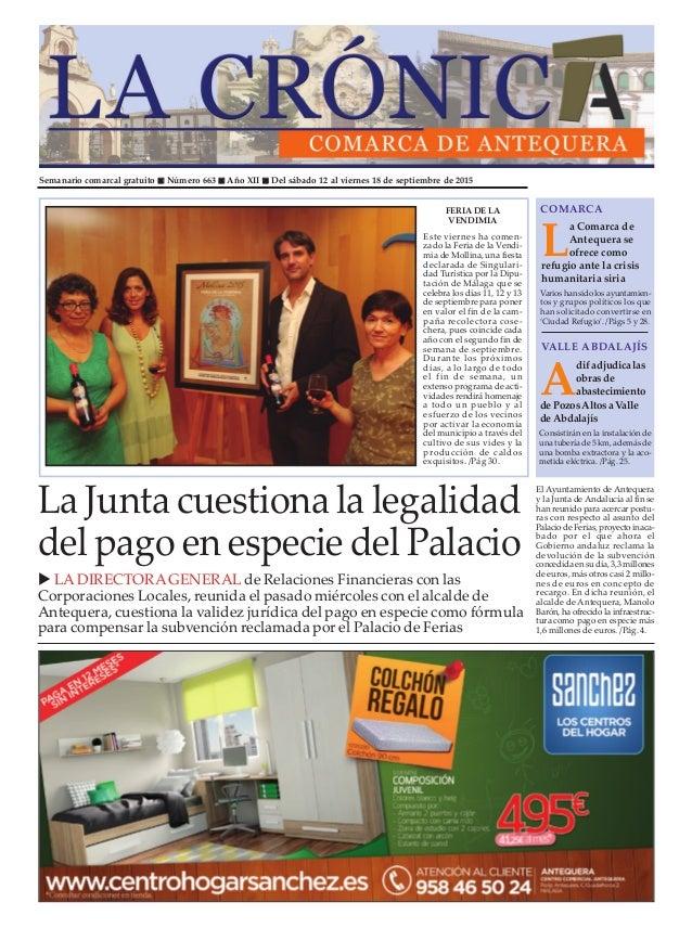 Semanario comarcal gratuito n Número 663 n Año XII n Del sábado 12 al viernes 18 de septiembre de 2015 L a Comarca de Ante...