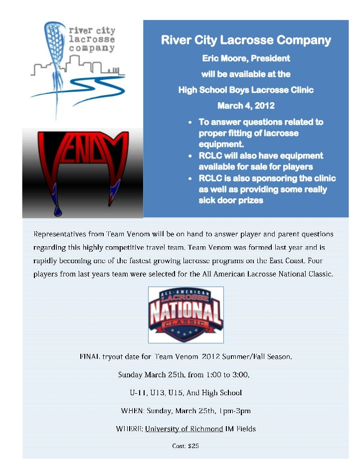River City Lacrosse Company       Eric Moore, President       will be available at the  High School Boys Lacrosse Clinic  ...