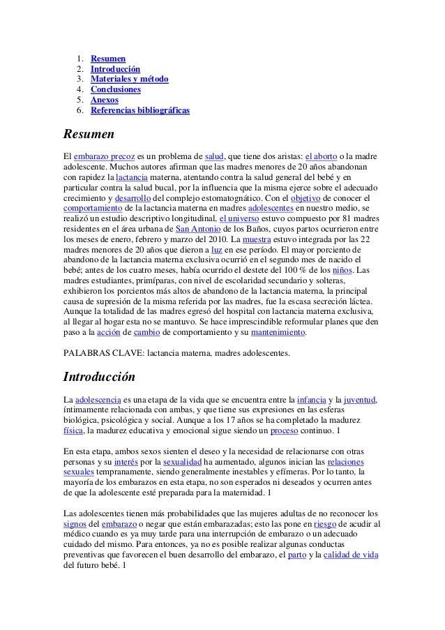 1. Resumen 2. Introducción 3. Materiales y método 4. Conclusiones 5. Anexos 6. Referencias bibliográficas Resumen El embar...