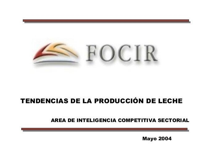 TENDENCIAS DE LA PRODUCCIÓN DE LECHE Mayo 2004 AREA DE INTELIGENCIA COMPETITIVA SECTORIAL