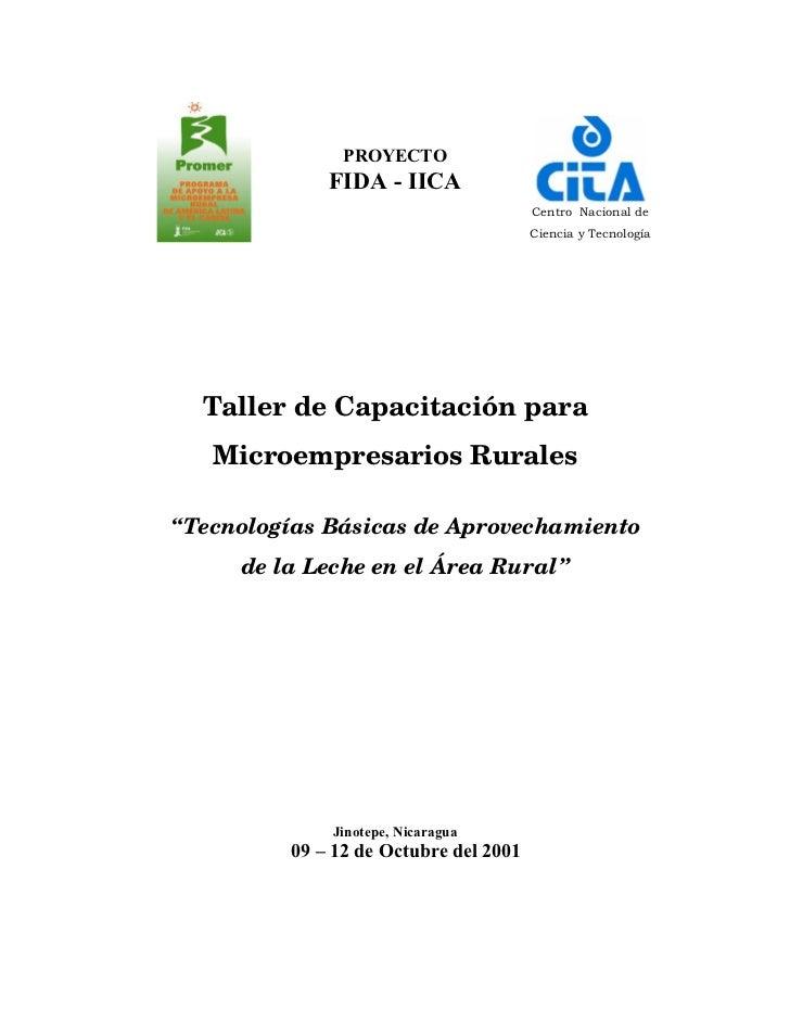 PROYECTO              FIDA - IICA                                        Centro Nacional de                               ...