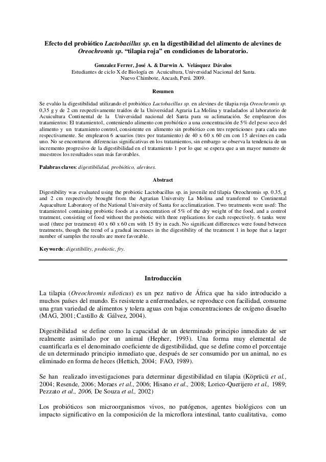 """Efecto del probiótico Lactobacillus sp. en la digestibilidad del alimento de alevines de Oreochromis sp. """"tilapia roja"""" en..."""