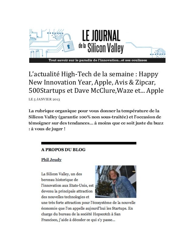 L'actualité	  High-­‐Tech	  de	  la	  semaine	  :	  Happy	  New	  Innovation	  Year,	  Apple,	  Avis	  &	  Zipcar,	  500St...