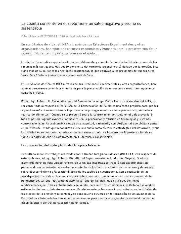 La cuenta corriente en el suelo tiene un saldo negativo y eso no es sustentable INTA - Balcarce 07/07/2010 | 16:07 (actual...