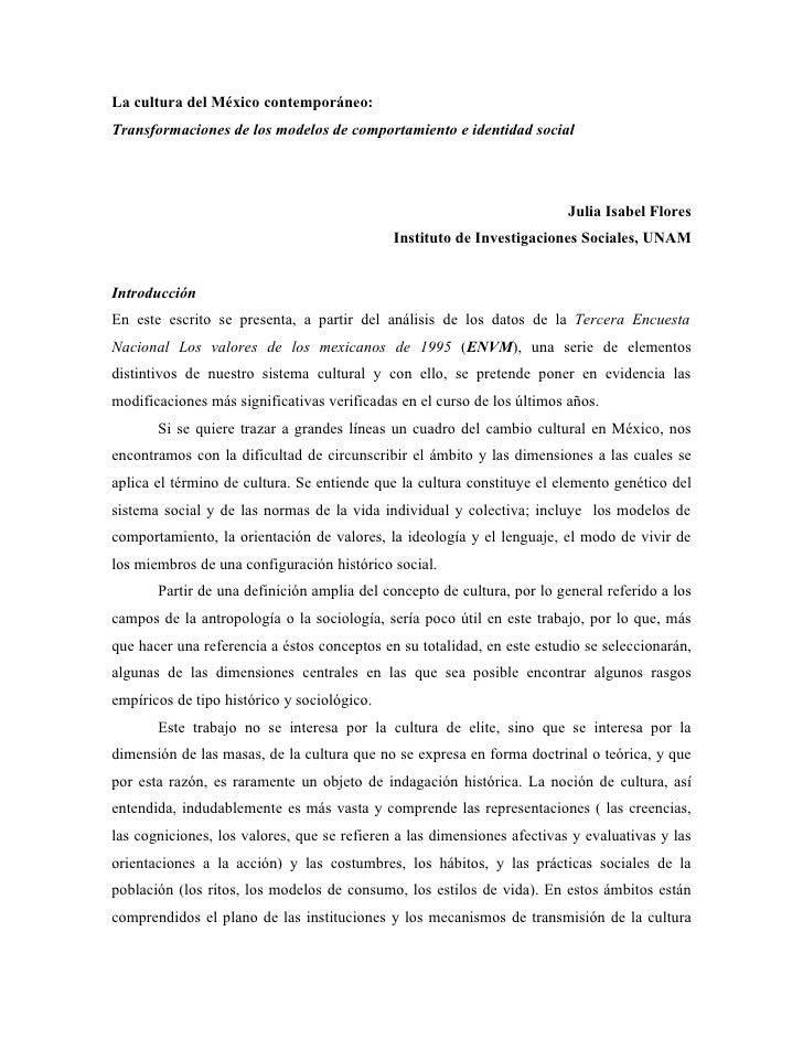La cultura del México contemporáneo: Transformaciones de los modelos de comportamiento e identidad social                 ...
