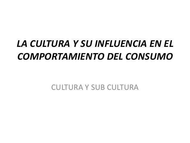 LA CULTURA Y SU INFLUENCIA EN EL COMPORTAMIENTO DEL CONSUMO CULTURA Y SUB CULTURA