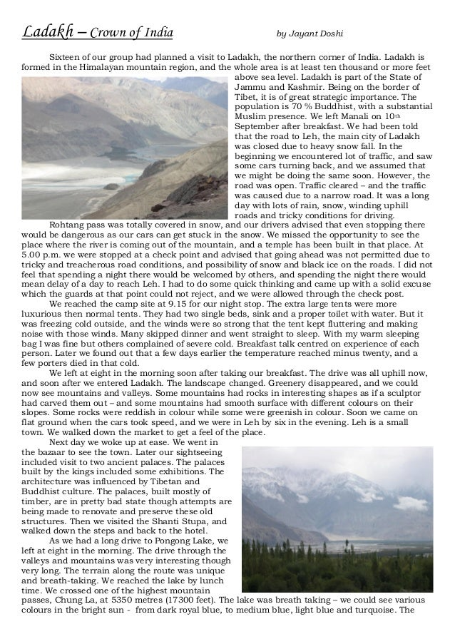 Ladakh – Crown of India                                        by Jayant Doshi        Sixteen of our group had planned a v...
