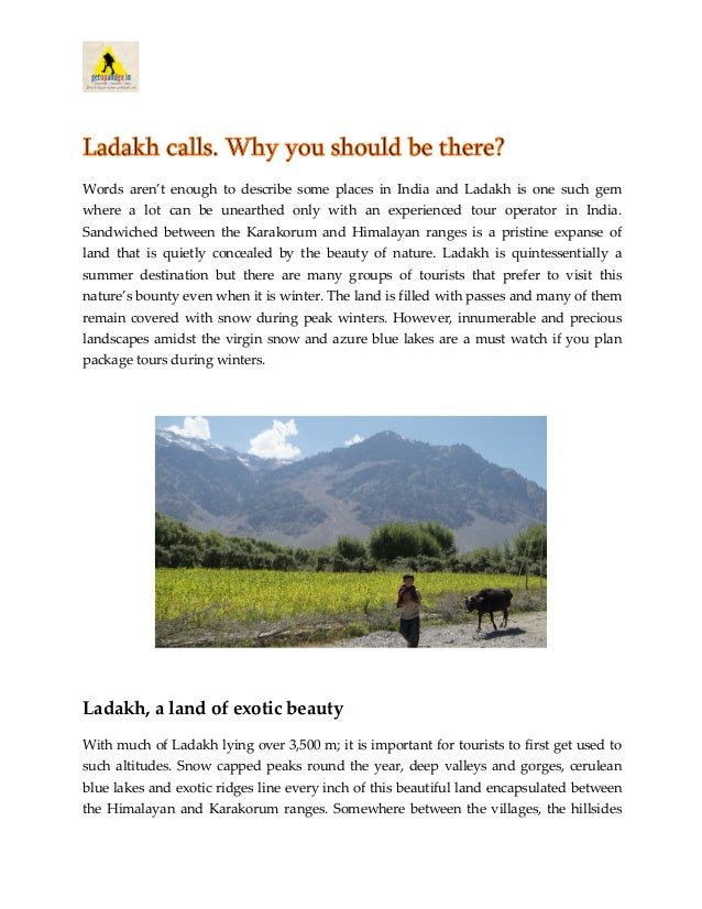 Ladakh, a land of exotic beauty