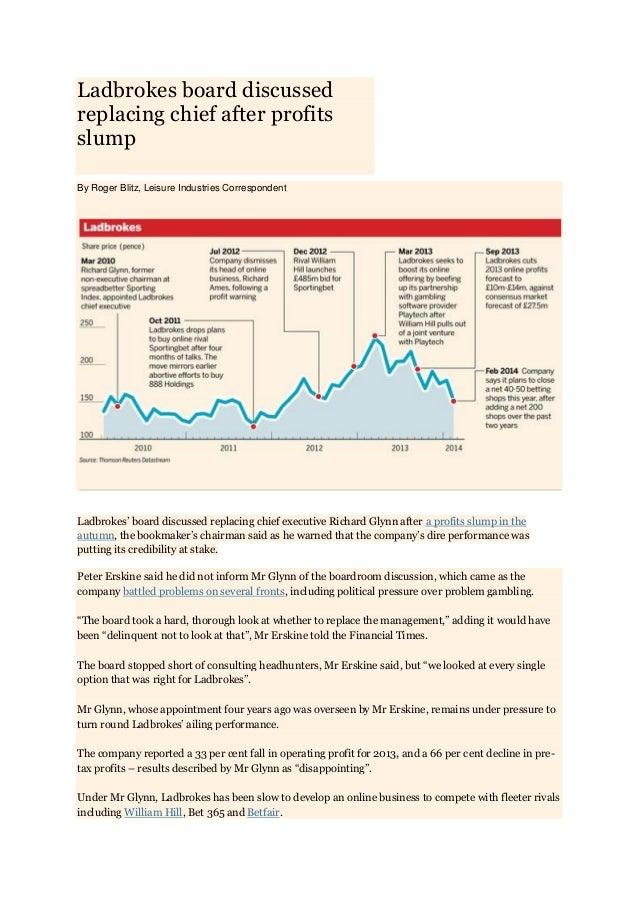 Ladbrokes board discussed replacing chief after profits slump