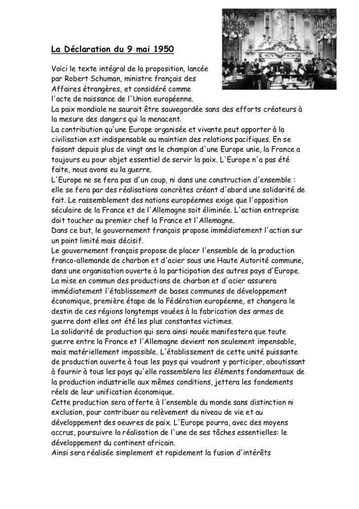 3501390-718820La Déclaration du 9 mai 1950<br />Voici le texte intégral de la proposition, lancée par Robert Schuman, mini...