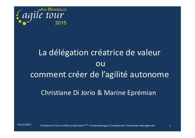 03/12/2015 La délégation créatrice de valeur ou comment créer de l'agilité autonome Christiane Di Jorio & Marine Eprémian ...