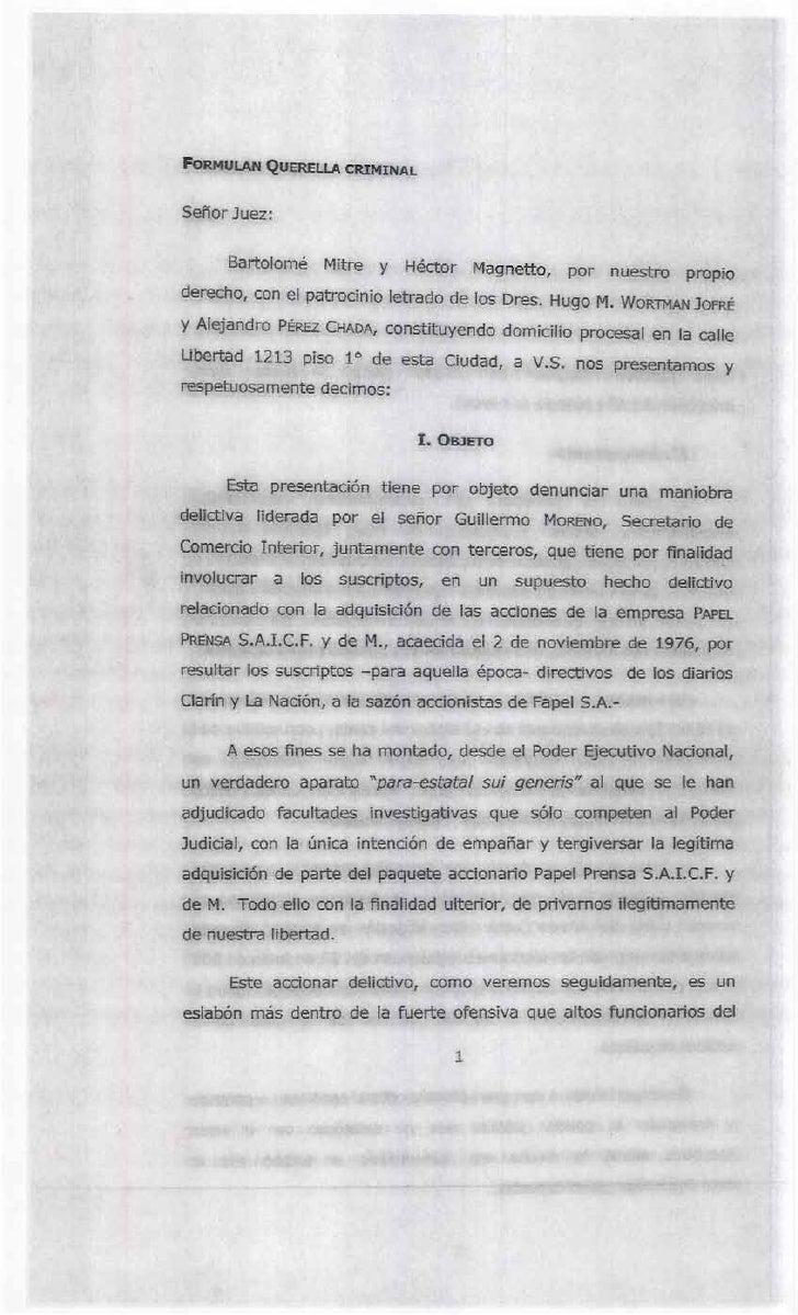 La denuncia completa de Mitre y Magnetto contra el gobierno