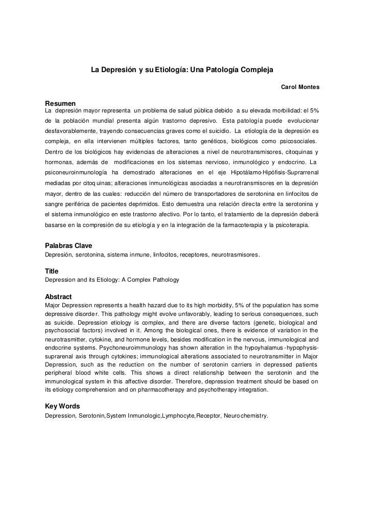 La Depresión y su Etiología: Una Patología Compleja                                                                       ...