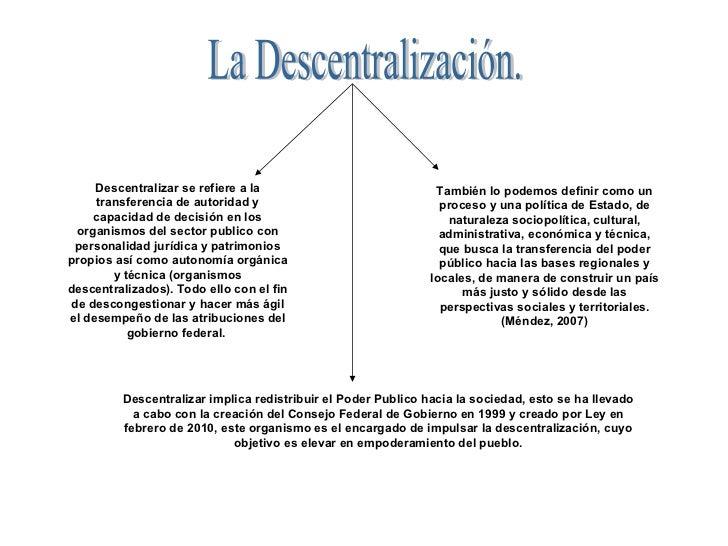 La Descentralización. Descentralizar se refiere a la transferencia de autoridad y capacidad de decisión en los organismos ...