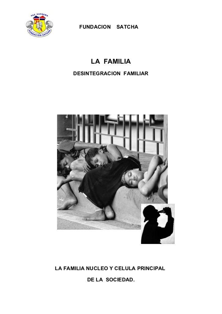 FUNDACION    SATCHA                LA FAMILIA      DESINTEGRACION FAMILIAR     LA FAMILIA NUCLEO Y CELULA PRINCIPAL       ...