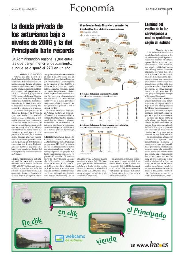 Martes, 29 de abril de 2014 Economía LA NUEVA ESPAÑA |31 Oviedo, L. GANCEDO Asturias está entre las regiones donde la deud...