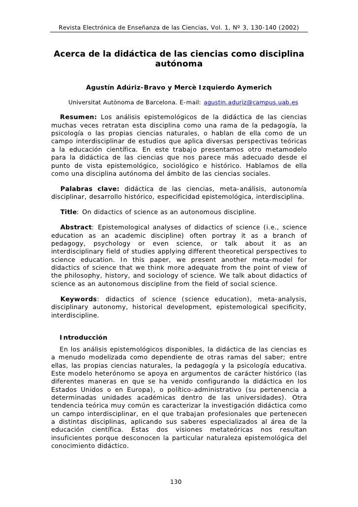 Revista Electrónica de Enseñanza de las Ciencias, Vol. 1, Nº 3, 130-140 (2002)    Acerca de la didáctica de las ciencias c...