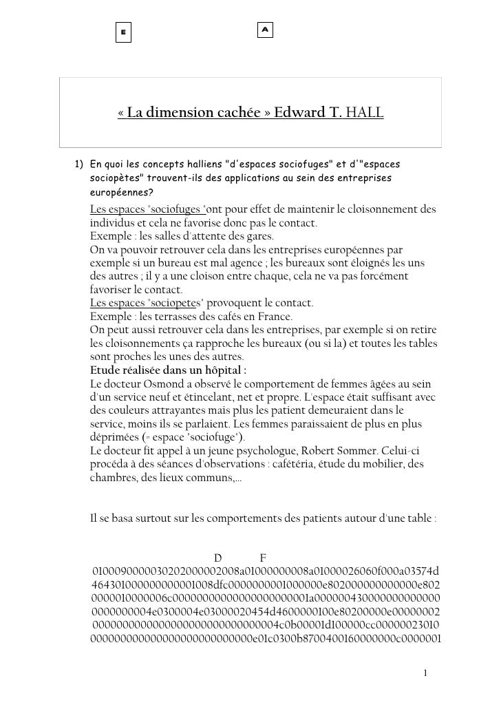 "E                              A         « La dimension cachée » Edward T. HALL1) En quoi les concepts halliens ""despaces ..."