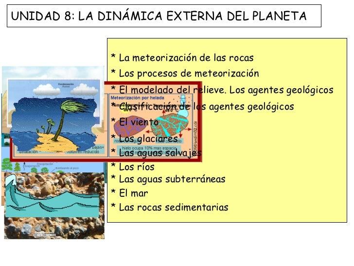 UNIDAD 8: LA DINÁMICA EXTERNA DEL PLANETA             * La meteorización de las rocas             * Los procesos de meteor...
