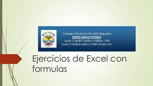 Ejercicios de Excel con formulas