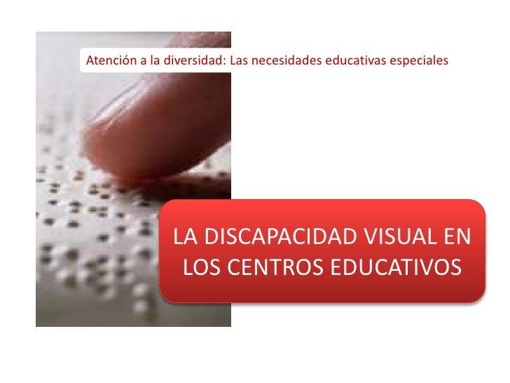 Atención a la diversidad: Las necesidades educativas especiales<br />LA DISCAPACIDAD VISUAL EN LOS CENTROS EDUCATIVOS<br />