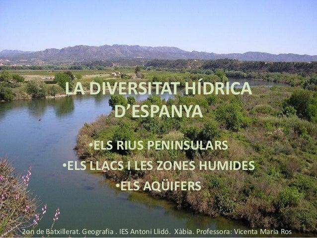 LA DIVERSITAT HÍDRICA D'ESPANYA •ELS RIUS PENINSULARS •ELS LLACS I LES ZONES HUMIDES •ELS AQÜIFERS 2on de Batxillerat. Geo...