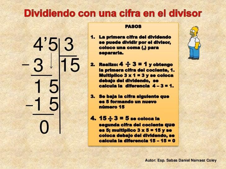 Dividiendo con una cifra en el divisor<br />PASOS <br />La primera cifra del dividendo se puede dividir por el divisor, c...