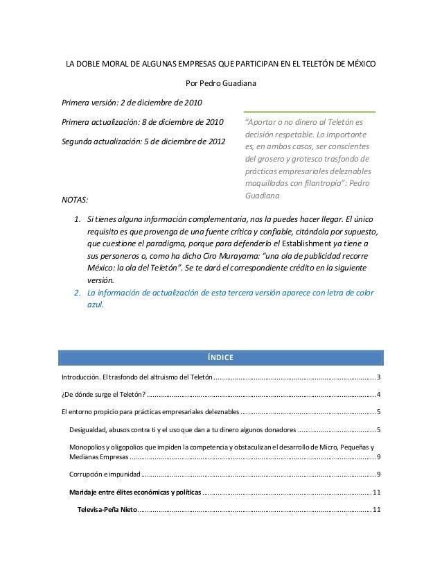 La doble moral de algunas empresas que participan en el teletón de méxico. 2012