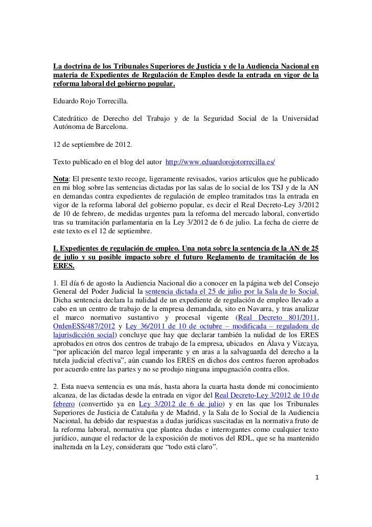 La doctrina de los Tribunales Superiores de Justicia y de la Audiencia Nacional enmateria de Expedientes de Regulación de ...