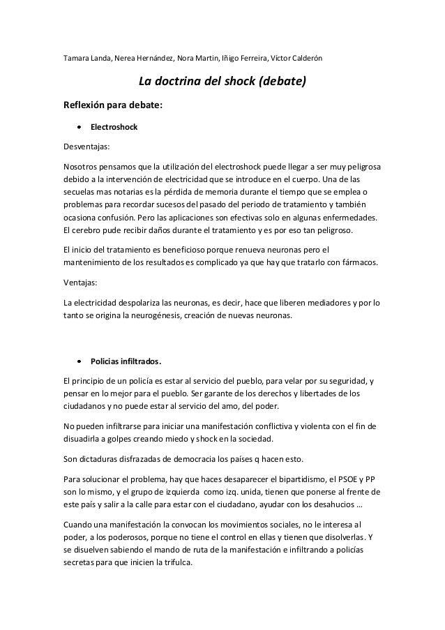 Tamara Landa, Nerea Hernández, Nora Martin, Iñigo Ferreira, Víctor Calderón La doctrina del shock (debate) Reflexión para ...