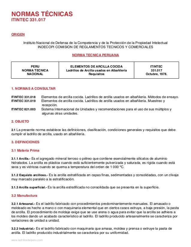 NORMAS TÉCNICASITINTEC 331.017ORIGEN         Instituto Nacional de Defensa de la Competencia y de la Protección de la Prop...
