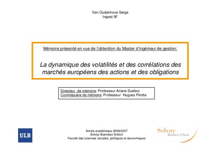 Van Oudenhove Serge                                    Ingest 5F Mémoire présenté en vue de l'obtention du Master d'ingéni...
