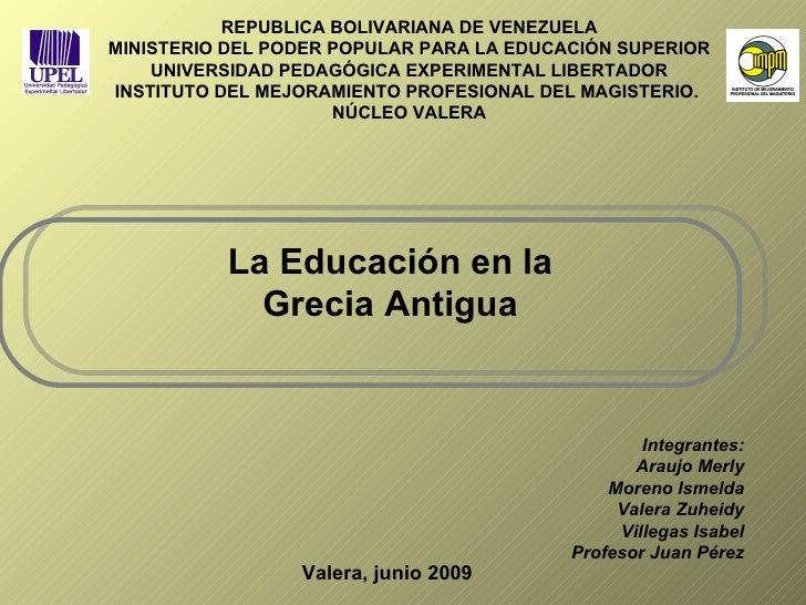 REPUBLICA BOLIVARIANA DE VENEZUELA MINISTERIO DEL PODER POPULAR PARA LA EDUCACIÓN SUPERIOR UNIVERSIDAD PEDAGÓGICA EXPERIME...